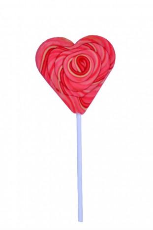 Pirulito Psicodélico Rosa e Branco Coração 8 cm de Diâmetro 20 cm Altura - Catelândia