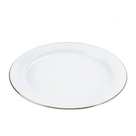 Prato Redondo Branco com Borda Inox 18 cm 10 Unidades - Catelândia