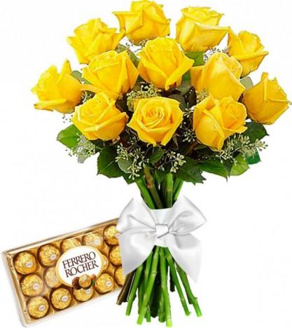 Presente Especial Namorados, Flores Artificiais Amarela Com Chocolate Ferrero