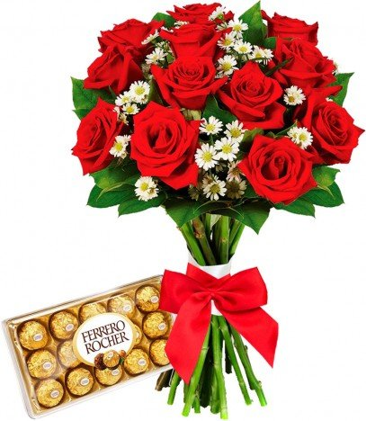 Presente Namorados Buquê De Rosas Artificiais Com Chocolate Ferrero