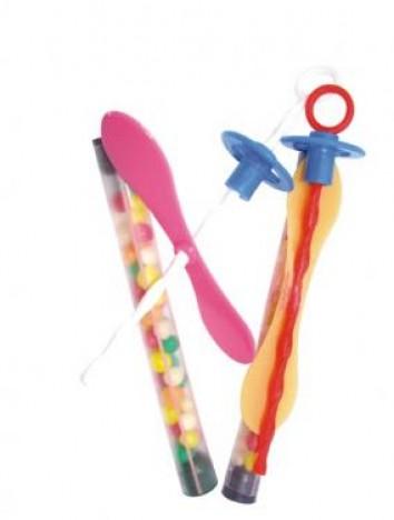 Tubinhos com Confeitos Coloridos e Mini Brinquedo Gira Hélice 25 Un - Catelândia
