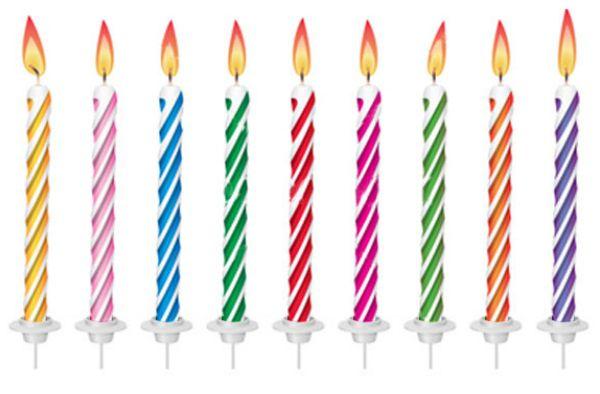 Vela de Aniversário Coloridas Espiral 24 Velas Sortidas e 12 Pezinhos - Catelândia