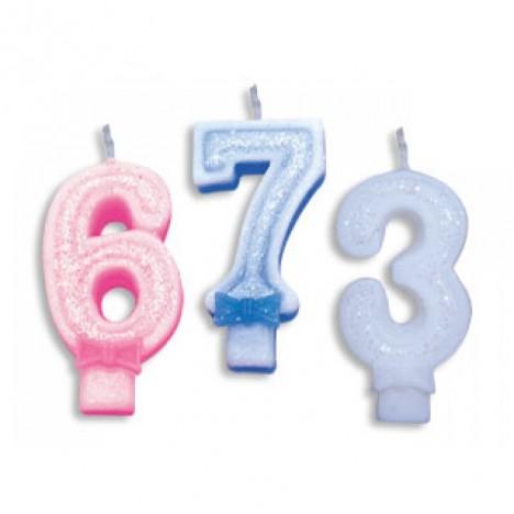 Vela de Aniversário com Glitter Número 0 Azul - Catelândia