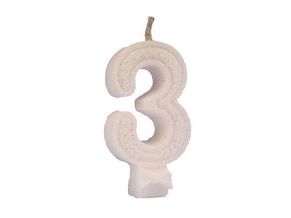 Vela de Aniversário com Glitter Número 3 Branca - Catelândia