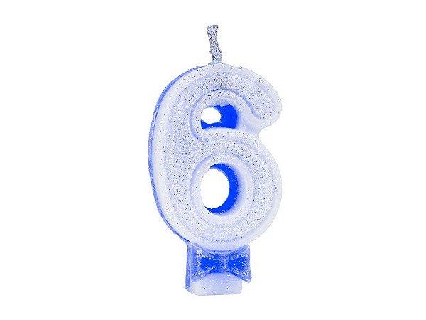 Vela de Aniversário com Glitter Número 6 Azul - Catelândia