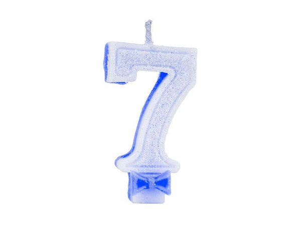 Vela de Aniversário com Glitter Número 7 Azul - Catelândia