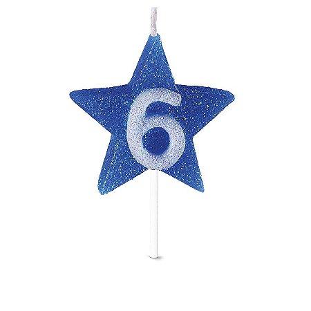 Vela de Aniversário Formato Estrela Azul Nº 6 - Catelândia