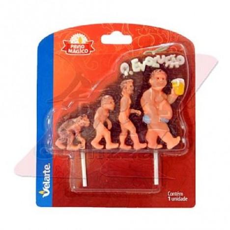 Vela de Pávio Mágico Q Evolução do Homem, do Macaco ao Cachaceiro 01 Un - Catelândia