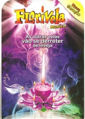 Vela Flor que Abre e Canta Parabéns Importada Violeta - Catelândia