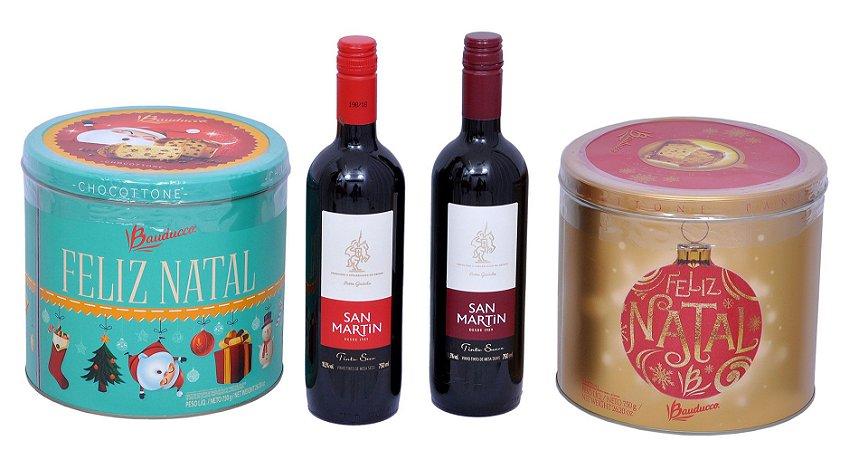 Kit Presente de Natal Lata Chocotone, Panetone Vinho Seco e Suave