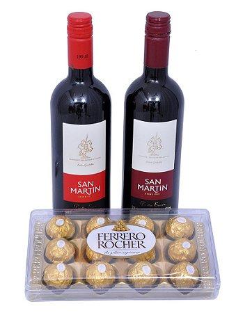 Kit Para Presente com Vinhos e Chocolate Ferrero Rocher