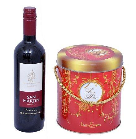 Kit Natal Panetone Gotas de Chocolate Lata e Vinho