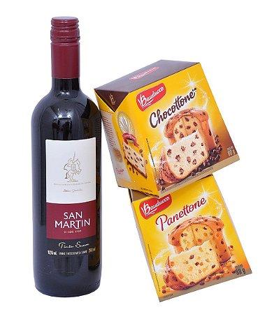 Kit Natal Mini Panetone Chocotone Bauducco e Vinho