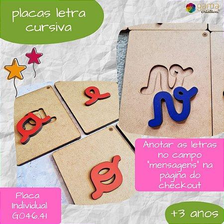 Placas Letras Cursivas
