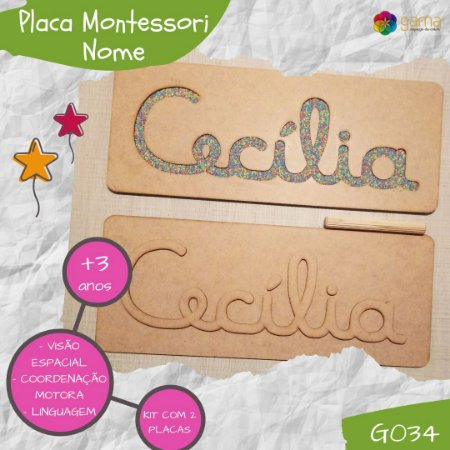 Nome Cursivo - Placas Montessori