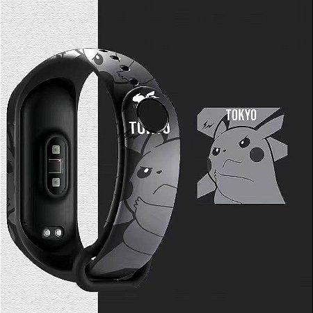 Pulseira Estampada Pikachu Preto - Mi Band 5 e 6