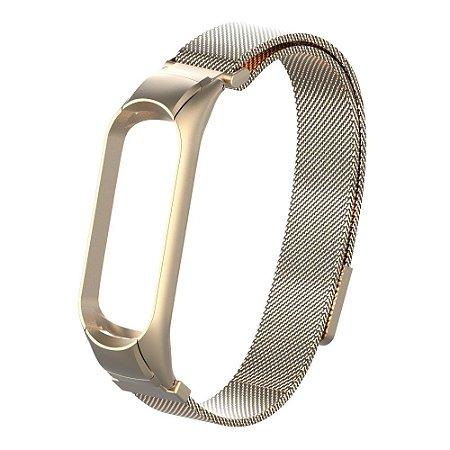Metal Dourado Fosco com fecho Magnético - Mi Band 3/4