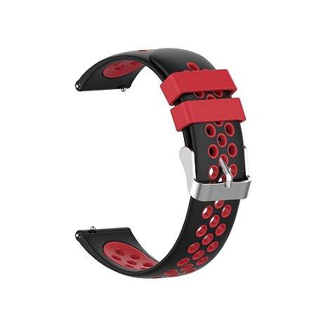 Pulseira Esportiva Preto c/ Vermelho 20mm - (BIP, Gear S2, etc)