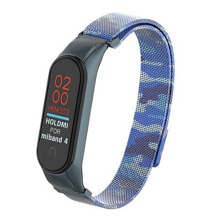Camuflado Azul com Fecho Magnético e Engate seguro  - Mi Band 3/4