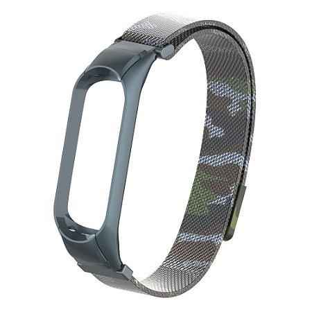 Pulseira de  Metal Camuflado Cinza com fecho magnético e engate seguro  - Mi Band 3/4