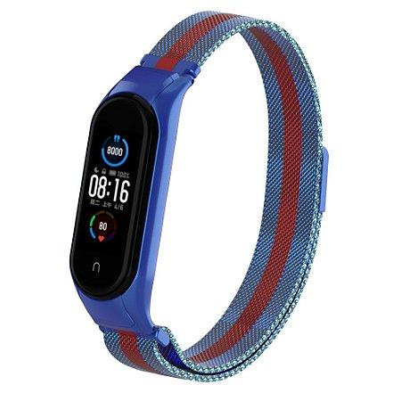 Metal Azul Listra vermelho com Trava de Segurança - Mi Band 5 e 6