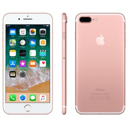 iPhone 7 Plus Apple com 128GB, Tela Retina HD de 5,5  iOS 12, Dupla Câmera Traseira, Resistente à Água, Wi-Fi, 4G LTE e NFC - Ouro Rosa
