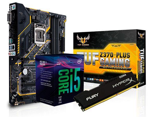 KIT PROCESSADOR CORE I5 8400 + Z370-PLUS TUF GAMING ASUS + 8GB HYPERX FURY DDR4