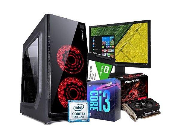 PC GAMER LÍDER MÉDIO, CORE I3 9Gº,H310M, 8GB, SSD 240GB, RX 550 4GB, MONITOR 20PL, FONTE 500W, TECLADO E MOUSE