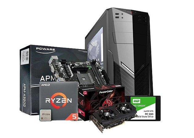 PC Gamer Líder Top, Ryzen 5 3400G, A320M, 8GB OU 16GB DDR4, SSD 240GB, RX 580 8GB, 500W