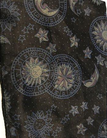Écharpe de Seda Estampa Lua/Estrela