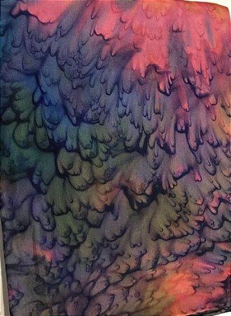 Écharpe de Seda Tie Dye Rosa/Azul