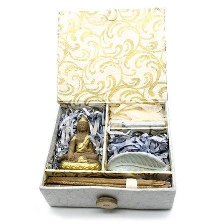 Caixa Tibetana com Buda, Incenso etc