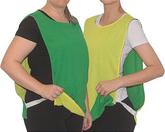 12e850579131b colete futebol dupla face feminino verde amarelo - Rei Do Colete