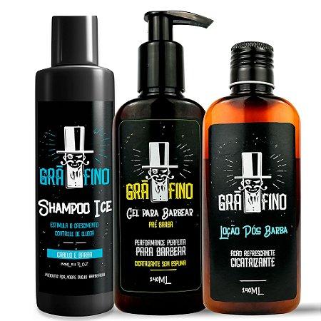 Kit Grã-Fino Shampoo + Gel de Barbear + Loção Pós Barba