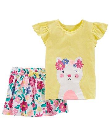 Conjunto 2 peças Camiseta e Saia Carter's - Amarelo