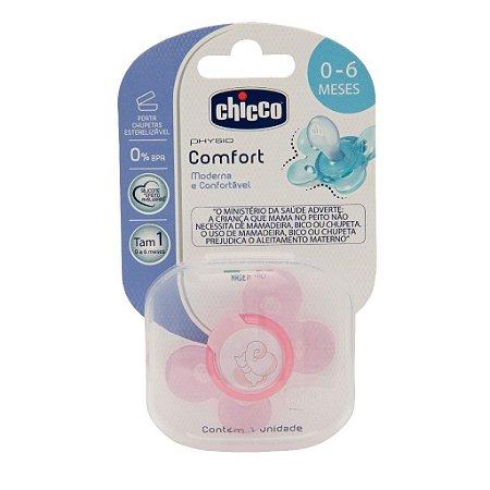 Chupeta Chicco Physio Comfort 0a6M com Porta Chupetas Rosa