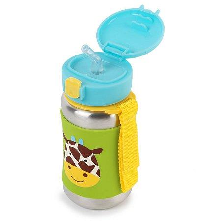 Garrafinha Skip Hop Zoo Inox com Capa de Silicone - Girafa