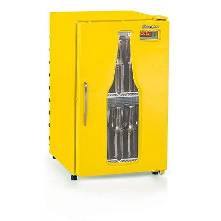 Refrigerador de bebidas cervejeira amarelo porta com vidro em garrafa 120 litros GRBA-120AM - Gelopar
