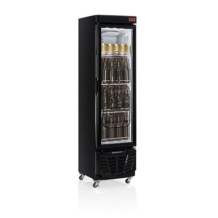 Refrigerador de bebidas cervejeira preto porta de vidro condensador estático 230 litros - GRBA-230EVGW - Gelopar