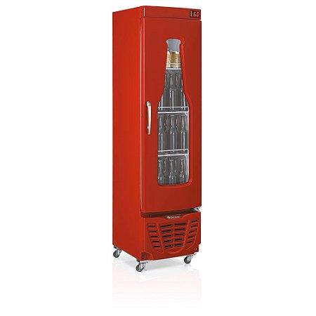Refrigerador de bebidas cervejeira vermelho porta com vidro em garrafa e condensador estático 230 litros - GRBA-230EVVM - Gelopar