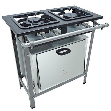 Fogão Industrial Baixa Pressão 2 bocas com forno - Linha S2000 30x30 M10 - Metalmaq
