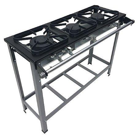 Fogão Industrial Baixa Pressão 3 bocas sem forno 1QD/2QS Linha S2020 30x30 M7 Metalmaq