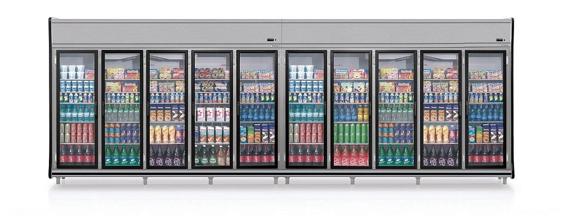 Expositor Vertical 10 Portas Bebidas e Laticinios - GEVT-10PPR Linha Black Sibéria Gelopar