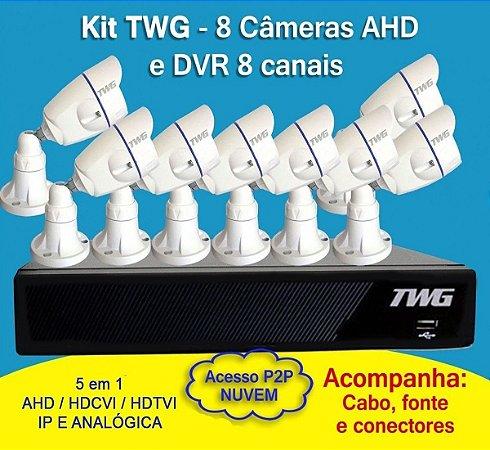 Kit TWG 8 Câmeras Full HD + DVR TWG de 8 Canais 5 em 1