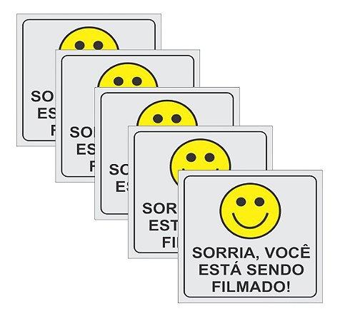 Placa Sorria Você Está Sendo Filmado - 5 Peças