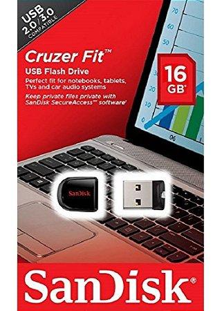 Pen Drive SanDisk 16GB Cruzer Fit USB 2.0/3.0  - SDCZ33-016G-B35