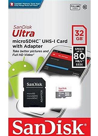 Cartão de Memória SanDisk 32GB Micro SDXC Ultra Classe 10 Vel. Até 80MB/s p/ Smartphone SDSQUNS-32G-GN3MA
