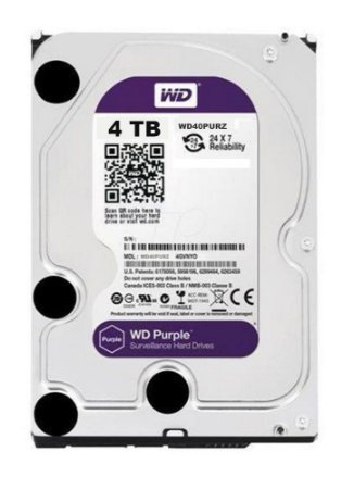 HD WD SATA 4TB 3,5´ Purple Surveillance  IntelliPower 64MB Cache SATA 6.0Gb/s - WD40PURZ