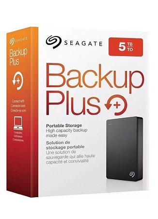 HD Seagate 5TB Externo Portátil Backup Plus USB 3.0  Preto - STDR5000100