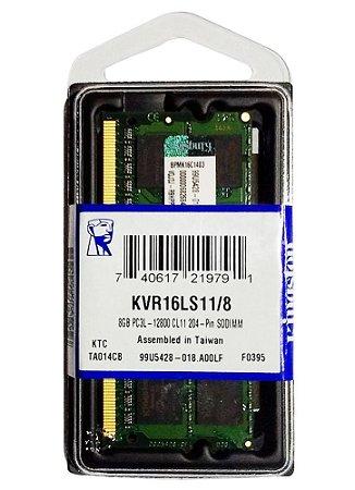 Memória Kingston 8gb 1600mhz Ddr3l P/ Notebook Cl11 - Kvr16ls11/8